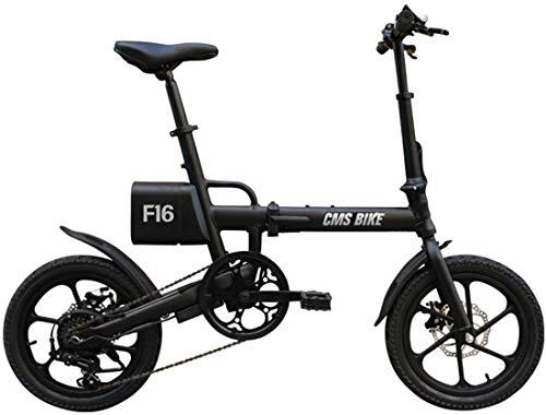 Xiaokang 16 Pulgadas Variable Velocidad Plegable Coche eléctrico Aleación de Aluminio Ultra Light Portátil Portátil Menores y Mujeres Bicicletas eléctricas,Negro