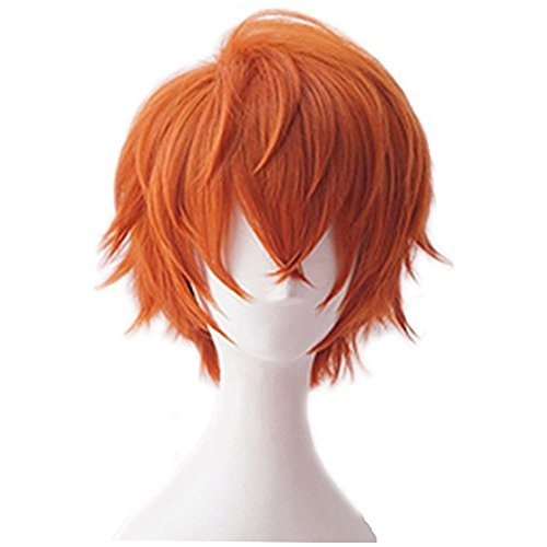 Xingwang Queen Anime Short White Gradient Orange Cosplay Wig Mens Party Wigs with Free Cap