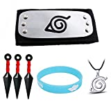 6PCS Naruto Cosplay Adjustable Headband Big Kunai Plastic Toy Necklace and Luminous Wristband Ninja...