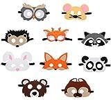 Xingsky Mascaras Animales,10 Piezas Máscaras para Niños para Niños Fiesta Mascarada Decoración,Navidad, Halloween,Fiestas de Cumpleaños