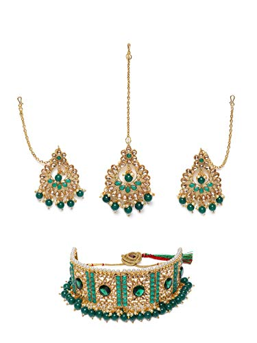 Zaveri Pearls Green Stones & Beads Traditional Choker Necklace, Earring & Maangtikka Set For Women-ZPFK9919