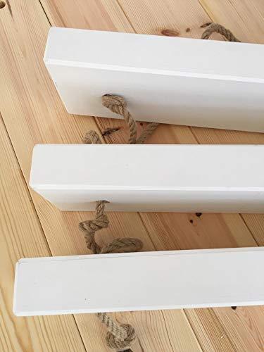 Hannun Estantería de Pared Makemba/Estantería de Madera Maciza y Cuerdas de Cáñamo Artesanal Fabricada a Mano, Color Blanco 70 cm