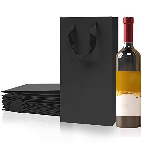 LZYMSZ 12 Stücke 2 Flaschen Wein Träger Tote Halter, Schwarzes Papier Weiß und Rotwein Geschenk Flasche Tragetaschen mit Griffen