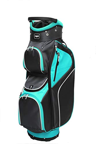 Majek Ladies Teal Black Golf Bag, 14-Way Separator, 3 Full Length Dividers