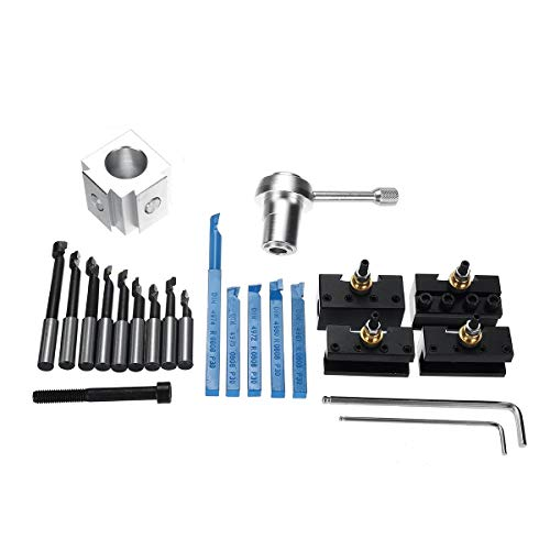 Learn More About 19Pcs Mini Quick Changes Tool Post Holder Set + 3/8 Inch Boring Bar + Indexable 3/8...