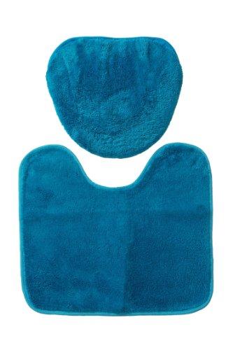 イケヒコトイレマット無地フタカバー(O型U型便座用)+足元マット2点セット『コレット』ブルー約45×36cm以下用♯2007860