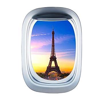 IMIKEYA 3PCS 3D Window Wall Sticker Removable Wall Mural Airplane Window Decal Eiffel Tower Scene Aviation Wall Decor for Childrens Room Kindergarten