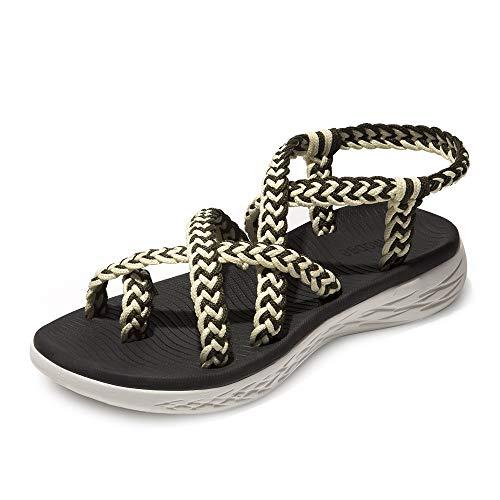 chitobae Comfortable Lightweight Soft Strappy Flat Sandals for Women(8 M US, Green White/Black Bottom)