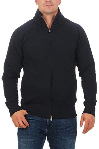 Herren Sweatjacke ohne Kapuze Zip-Jacke mit Kragen, Größe:3XL, Farbe:Dunkelblau