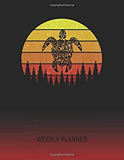 Weekly Planner: Tribal Turtle | 2020 - 2021 | Plan Weeks for 1 Year | Retro Vintage Sunset Cover | January 20 - December 20 | Planning Organizer ... | Plan Days, Set Goals & Get Stuff Done