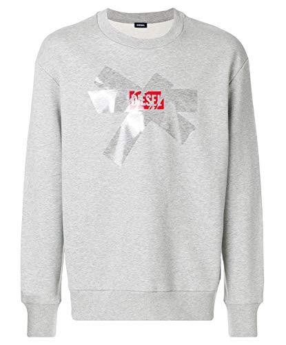 Diesel S-Bay-SA Herren Men Pullover Sweatshirt Oversized Look, Lässiger Schnitt Grau Grey (XL)