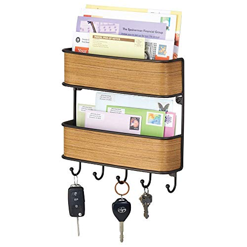 mDesign Wall Mount Metal Mail Organizer Storage Basket - 2 Tiers, 5 Hooks - for Entryway, Mudroom, Hallway, Kitchen, Office - Holds Letters, Magazines, Coats, Keys - Bronze/Teak Wood Finish