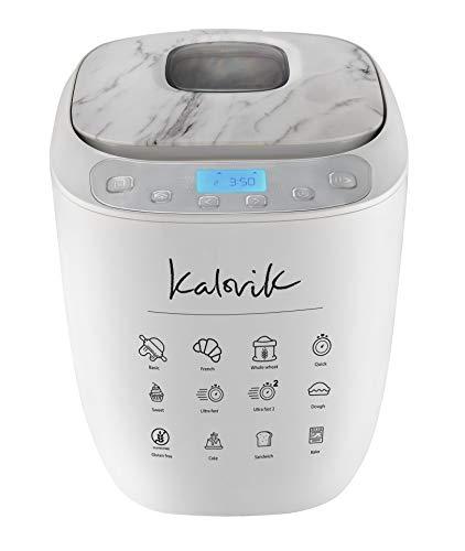 Kalorik TKG BBA 2000 - Panificadora (hasta 900 g, programación automática, temporizador, pantalla LCD, cesta extraíble y gancho para amasar, 500 W), diseño de mármol