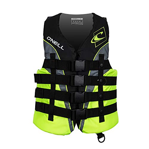 O'Neill Men's Superlite USCG Life Vest,Black/Lime/Smoke/Lime,Large