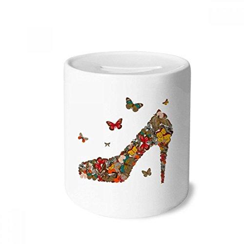 DIYthinker Schmetterling und High Heel-Schuhe Geld-Kasten Sparkassen Keramik Münzfach 3.5 Zoll in Height, 3.1 Zoll in Duruchmesser Mehrfarbig