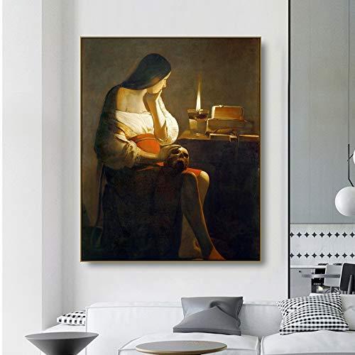ganlanshu Retro Schönheit Leinwand Ölgemälde Kunst Poster Wandbild Inneneinrichtung,Rahmenlose Malerei,50x60cm