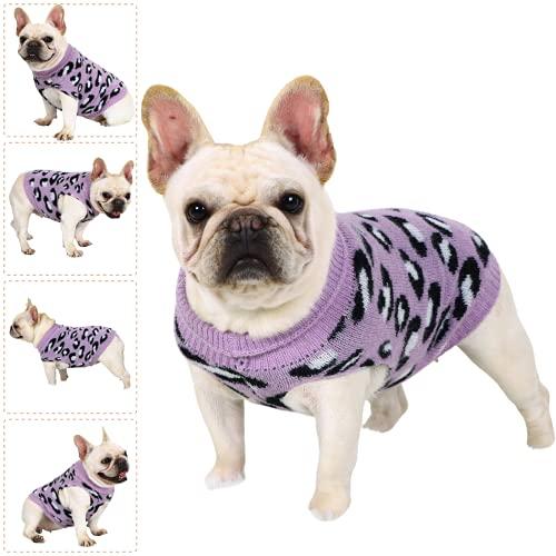 LAWKUL Hundepullover Hunde Pullis Hund Sweater Katzen Chihuahua Kleidung Baumwolle Hund Pullover Ärmellose für Keleine Mittel Groß Katzen Welpen Mit Leopard Violett Größe S