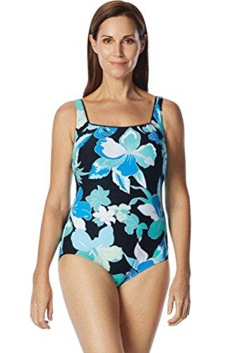 Roxanne Chlorine Resistant D-Cup Garden City Square Neck One Piece Swimsuit Size 40D Black