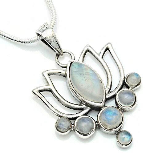 Kette mit Mondstein Halskette Kettenanhänger 925 Silber weiß blau (138-04 02), Kettenlänge:55 cm
