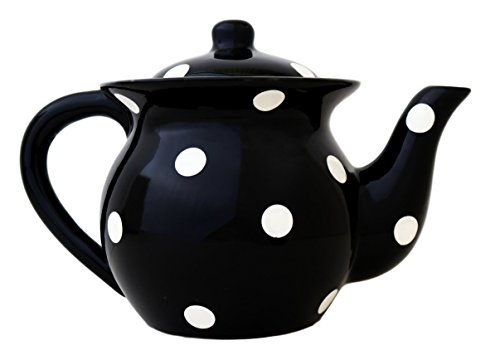 White Polka Dot Black Teapot