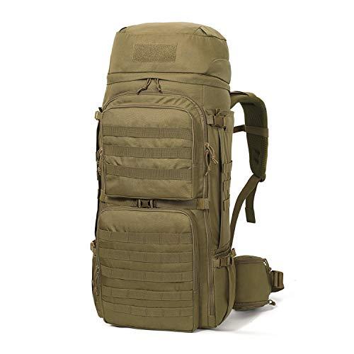Mardingtop 75L Molle Hiking Internal Frame Backpacks with Rain Cover (M6312-Khaki-75L)