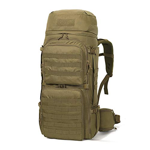 Mardingtop 75L Molle Hiking Internal Frame Backpacks with Rain Cover (M6312-Khaki-75L)