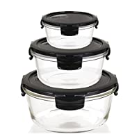 Funktionell & schön: Vorratsdosen aus Borosilikatglas für vielfältige Einsatzmöglichkeiten - Vom Backen im Ofen bis hin zum Einfrieren im Tiefkühler Vorratsdosenset der Serie OVEN GLASS: 3 Frischeboxen in verschiedenen Größen: 130ml, 650ml, 950ml - H...