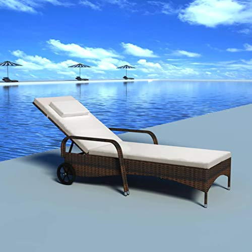 vidaXL Sun Lounger with Cushion & Wheels Poly Rattan Brown