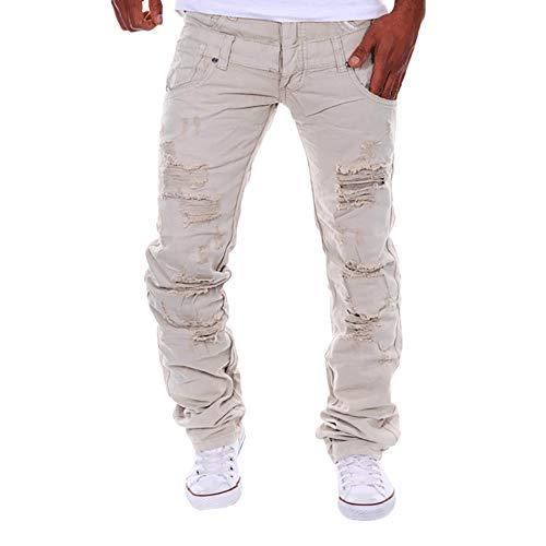 TEBAISE Herren Destroyed Slim Fit Denim Strech Jeans-Hose Stoffhose Pants Biker Jeanshosen Straight Stretch(Khika,30)