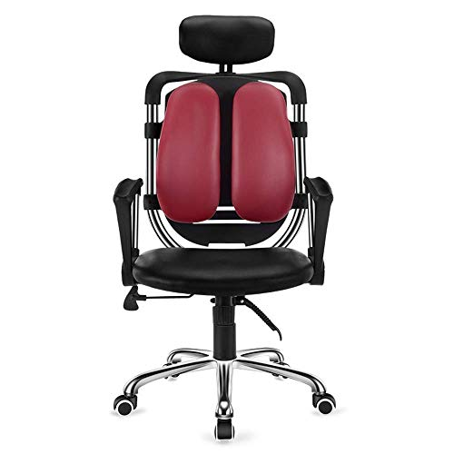 Leisurers ergonómica de Piel Juego Esports computadora de Oficina Jefe de elevación Rotarystable Apoyo for la Cabeza GDSZMMLS (Color : Black+Red)