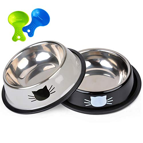 Legendog Cat Bowls, 2 Pcs Food Grade Feeding Bowl Cat Stainless Steel Non-slip Cats Bowl Cat Bowl Set | Food Bowl Cat | Cat Water Bowl | Pet Bowls for Cats | for Cats (Grey)