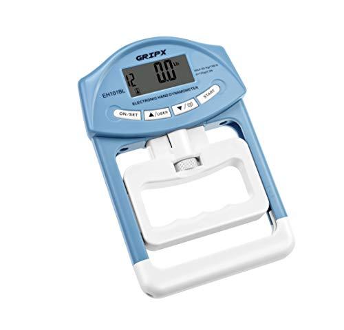 GRIPX Medidor de medición de Fuerza Digital de Mano con dinamómetro de Mano de Agarre automático, Capacidad de Agarre electrónico de 89,8 kg / 90 kg, Color Azul