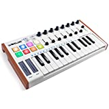 lotmusic Worlde TUNA MINI 25 Keys Portable USB MIDI Keyboard Controller with 8 RGB Backlit Colorful Drum Beat Pads, 8 Knobs, 8 Faders,Pedal Interface,Touch Control and Carry Bag Included