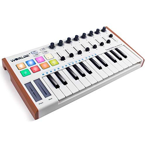 lotmusic Worlde TUNA MINI 25 Keys Portable USB MIDI Keyboard Controller with 8 RGB Backlit Colorful Drum Beat Pads, 8 Knobs, 8 Faders,Pedal Interface,Touch Control