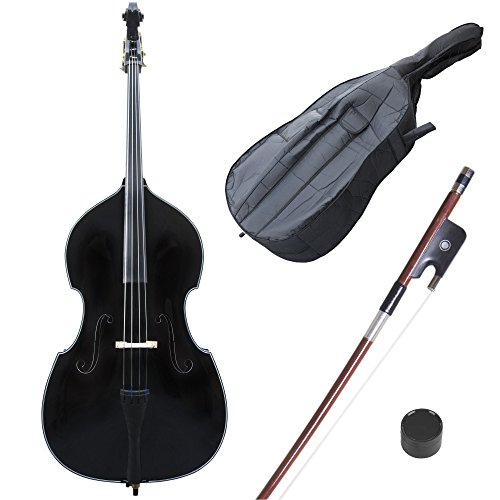 Cecilio CDB Upright Double Bass with an Adjustable Bridge, Bow, Rosin, and Gig Bag (Size 3/4, Black)