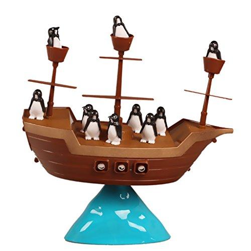 Gazechimp Jeu de Société Équilibre Jouets Bateau Pirate et Pingouin Jeux Famille Cadeau Enfant