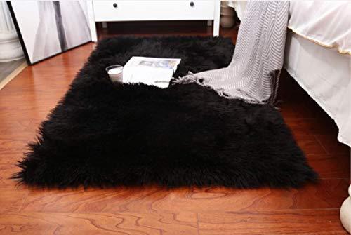 LYKEJI Alfombra mullida, Alfombra de Piel sintética, Dormitorio Sala de Estar Junto a la Cama sofá Alfombra (Negro, 60x90cm)