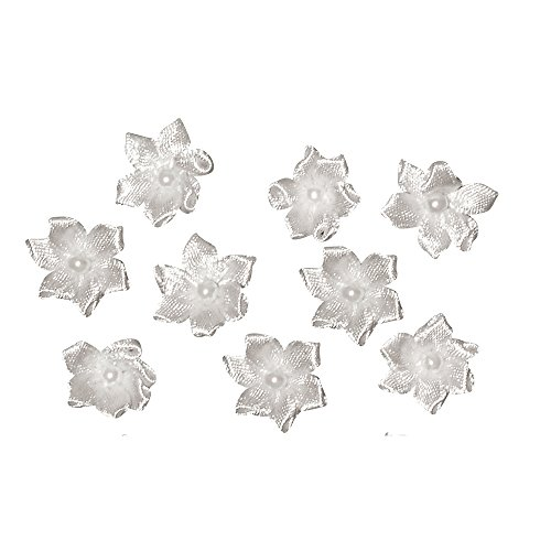 Rayher 5429102 SB-Btl Lot de 8 Fleurs avec Perle Vert/Blanc 2 cm