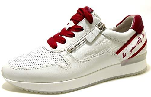 Gabor Damen Sneaker, Frauen Low-Top Sneaker,Best Fitting,Reißverschluss,Optifit- Wechselfußbett, leger Halbschuh Damen,Weiss/Rubin,38 EU / 5 UK