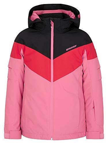 Ziener Veste de ski Alja Junior pour fille   imperméable, coupe-vent, chaud XS Rose rouge