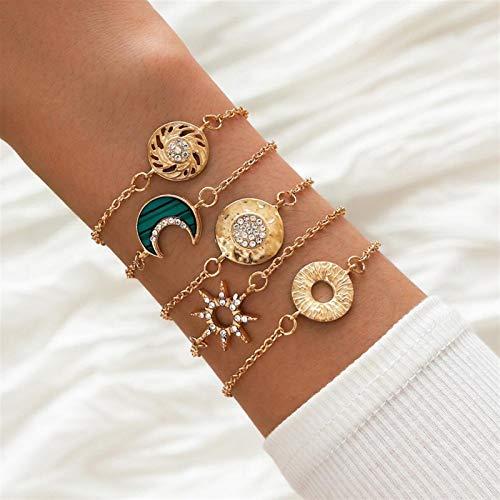 Xpccj Pulseras de color dorado con cadena fina de cristal, luna y sol, brazaletes para mujer, diseño de mariposa, triángulo, resina, conjunto de pulseras bohemias (metal color: luna sol)