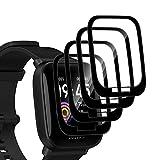 QULLOO Protector de Pantalla para Amazfit Bip U/Amazfit Bip U Pro,[4 Pack] Ultra Delgado Flexible HD...