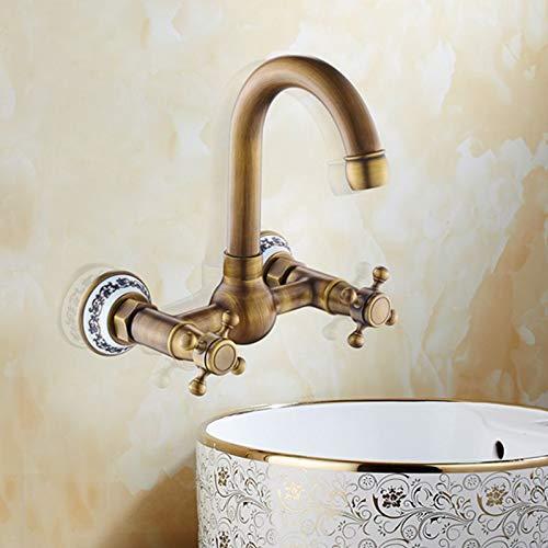 Grifo Ellen Wall Bath Faucet Mezclador de agua fría caliente Grifos de bañera 2 manijas Grifo de pared de bronce antiguo EL207