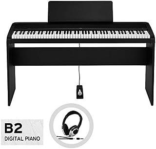 KORG コルグ/デジタル・ピアノ B2-BK (ブラック) 純正スタンドセット【お手入れクロス、汎用ヘッドホン付き】