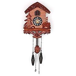 Polaris Clocks Wooden Cuckoo Clock with Night Mode, Singing Bird, Swinging Pendulum and Carved Wood Decorations (Cherry)
