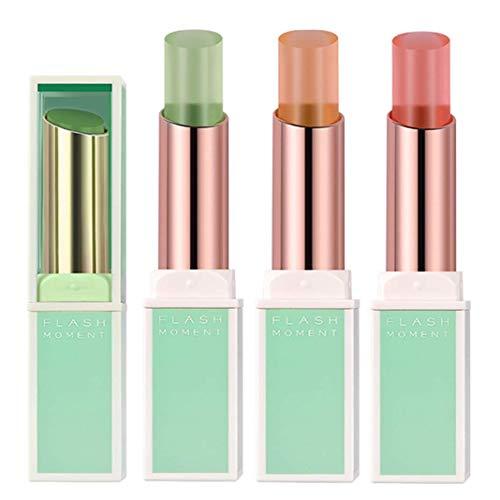 3 Stück Aloe Vera Moisturizing Lippenstift Set, BEEXY Transparent Magic Temperaturänderung Langlebiges Wasserdichtes Lippenstift Lippen Make-Up Kosmetik Kit