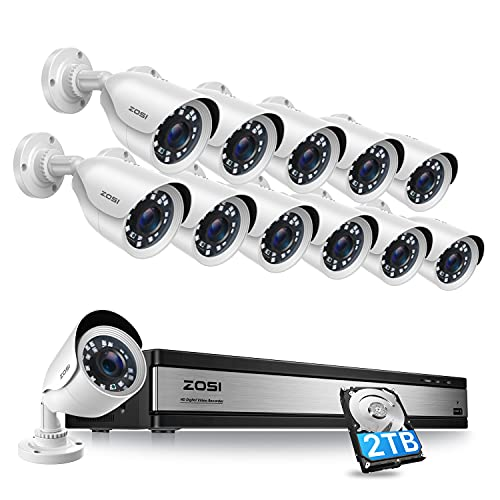 ZOSI H.265+ 1080p 16 Channel Security Camera System, 16 Channel DVR Recorder with Hard Drive 2TB and 12 x 1080p Weatherproof CCTV Bullet Camera Outdoor Indoor with 80ft Night Vision, Motion Alerts