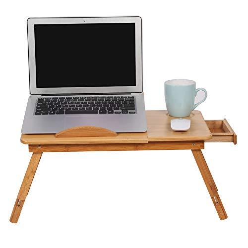 GOTOTOP Mesa de bambú ajustable para portátil, portátil, diseño multifuncional, bandeja para café, libro con cajón