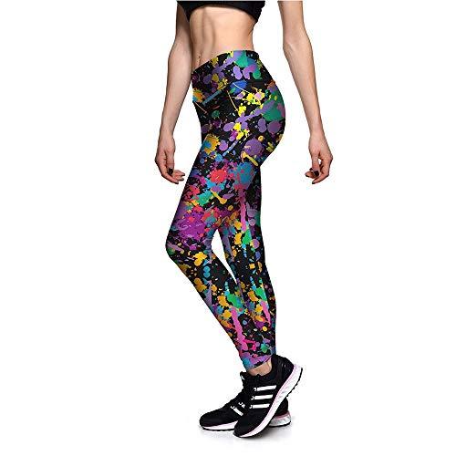 Damen Laufhose Leggins, Frauen Hohe Taille Yoga Hosen Bauch Kontrolle Capri Leggings Bunte Gemälde Drucke Sporthose Casual Workout Sportlich Dünne Strumpfhosen Yoga Sporthose Stretch-Hose Lauf-Tights