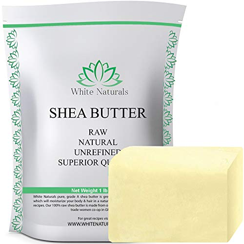 ONE DAY SALE! Unrefined African Shea Butter 1 lb (16 oz) Pure, Raw, Grade A, Ivory, Perfect Skin Moisturizer, DIY Lip Balms,Stretch Marks,Eczema,Acne,Recover Sun Damage,Kids Cream by White Naturals